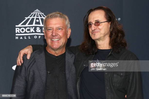 Musicians Alex Lifeson and Geddy Lee attend the Press Room of the 32nd Annual Rock Roll Hall Of Fame Induction Ceremony at Barclays Center on April 7...