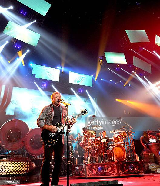 Musicians Alex Lifeson and Neil Peart of RUSH perform during the Clockwork Angels Tour at Honda Center on November 17 2012 in Anaheim California