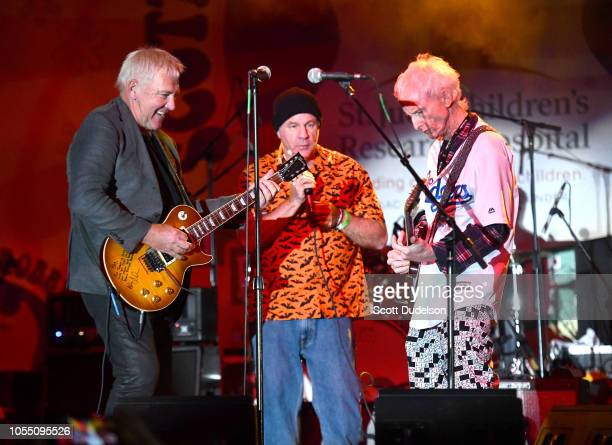 Musicians Alex Lifeson of the band Rush and Robby Krieger of The Doors perform onstage during the Medlock Krieger All Star Concert benefiting St Jude...