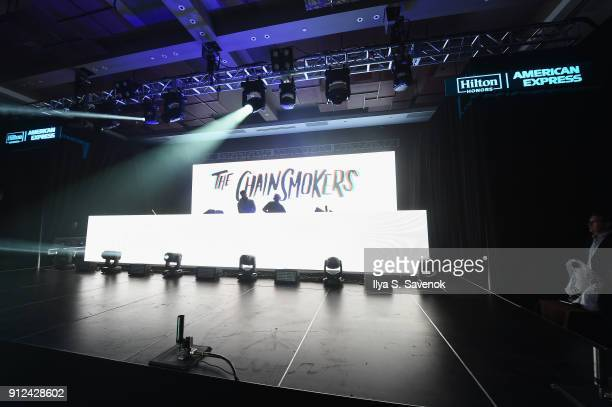 Musicians Alex Pall and Andrew Taggart of The Chainsmokers perform at the Hilton and American Express event at the Conrad New York on January 30 2018...