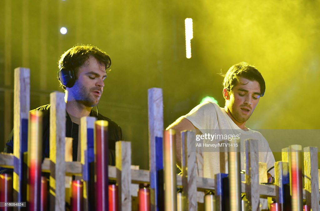 Musicians Alex Pall (L) and Andrew Taggart of The Chainsmokers perform onstage during the 2016 MTV Woodies/10 For 16 on March 16, 2016 in Austin, Texas.