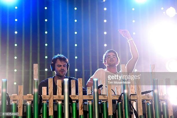 Musicians Alex Pall and Andrew Taggart of The Chainsmokers perform onstage during the 2016 MTV Woodies/10 For 16 on March 16 2016 in Austin Texas