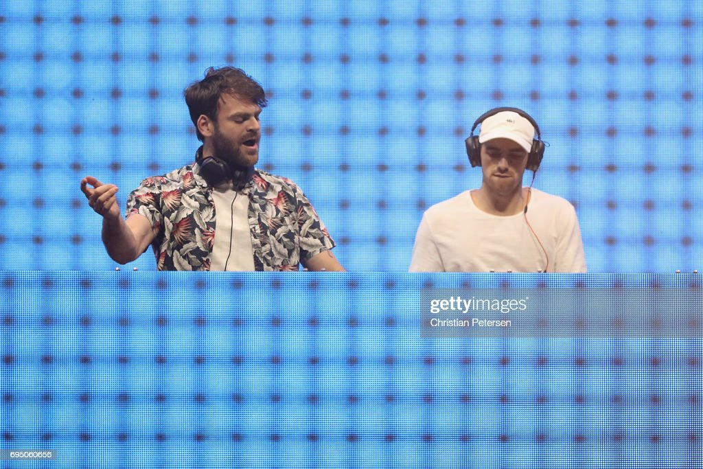Musicians (L-R) Alex Pall and Andrew Taggart of The Chainsmokers perform during the Bethesda E3 conference at the LA Center Studios on June 11, 2017 in Los Angeles, California. The E3 Game Conference begins on Tuesday June 13.