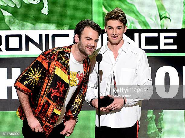 Musicians Alex Pall and Drew Taggart of The Chainsmokers accept Favorite EDM Artist onstage during the 2016 American Music Awards at Microsoft...