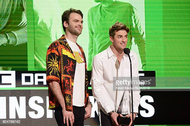 Musicians Alex Pall and Drew Taggart of The Chainsmokers accept Favorite EDM Artist onstage at the 2016 American Music Awards at Microsoft Theater on...