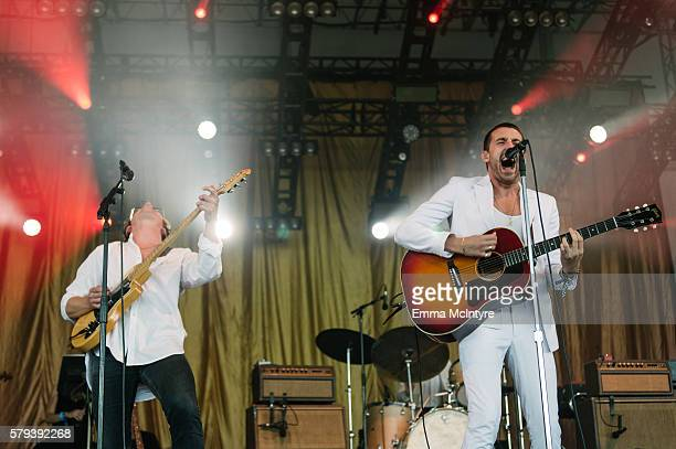 Musicians Alex Turner and Miles Kane of 'Last Shadow Puppets' perform onstage on Day 2 of the WayHome Music and Arts Festival on July 23 2016 in...