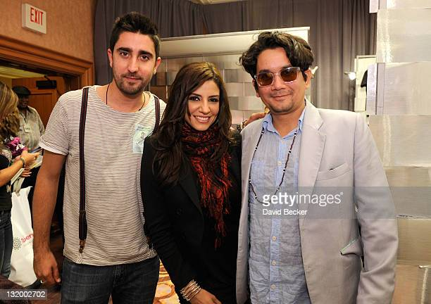 Musicians Alex Ubago Lena Burke and Jorge Villamizar of the band Alex Jorge y Lena attend the 12th Annual Latin GRAMMY Awards Gift Lounge Day 2 held...