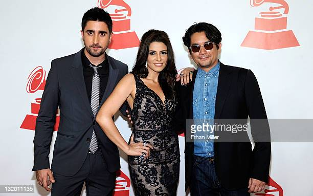 Musicians Alex Ubago Lena Burke and Jorge Villamizar of the band Alex Jorge y Lena arrive at the 2011 Latin Recording Academy's Person of the Year...
