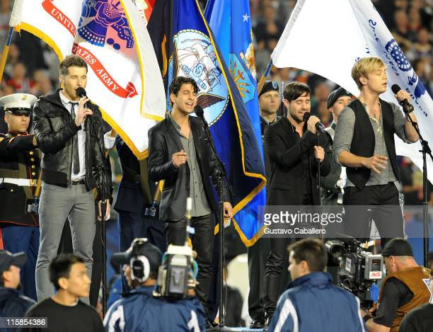 Musicians Alexander Noyes Jason Rosen Michael Bruno and Andrew Lee of Honor Society perform the national anthem at the 2010 Pro Bowl at Sun Life...