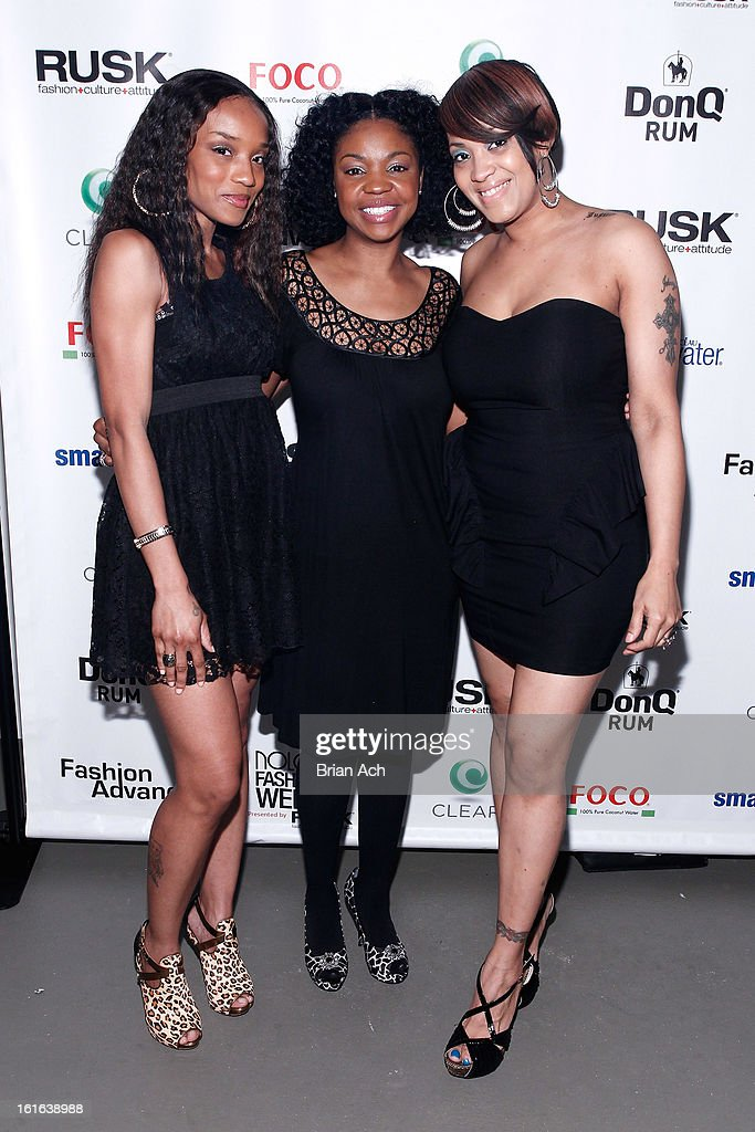 Musicians Alia Gray, Lala Sanders, and Akissa Mendez of Allure attend Nolcha Fashion Week New York 2013 presented by RUSK at Pier 59 Studios on February 13, 2013 in New York City.