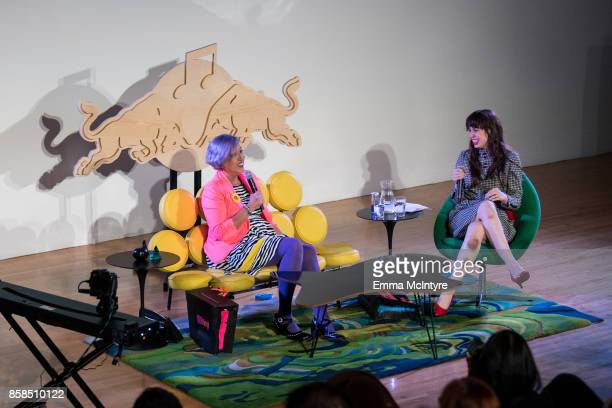 Musicians Alice Bag and Teresa Suarez Cosio aka 'Teri Gender Bender' speaks onstage at 'A conversation with Alice Bag Red Bull Music Academy...