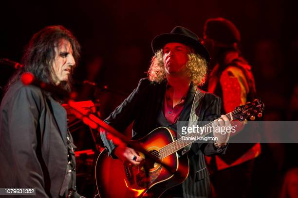 Musicians Alice Cooper and Buck Johnson of Hollywood Vampires perform on stage at Celebrity Theatre on December 08 2018 in Phoenix Arizona