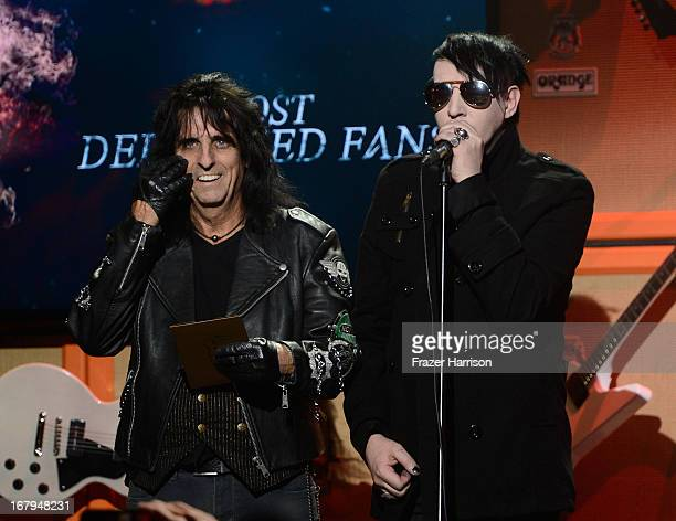 Musicians Alice Cooper and Marilyn Manson on stage at the 5th Annual Revolver Golden Gods Award Show at Club Nokia on May 2 2013 in Los Angeles...