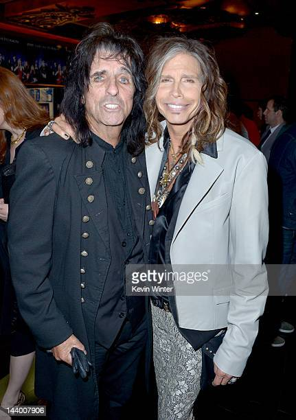 """Musicians Alice Cooper and Steven Tyler arrive at the premiere of Warner Bros. Pictures' """"Dark Shadows"""" at Grauman's Chinese Theatre on May 7, 2012..."""