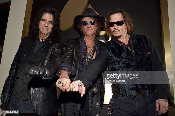 Musicians Alice Cooper Joe Perry and Johnny Depp of Hollywood Vampires attend The 58th GRAMMY Awards at Staples Center on February 15 2016 in Los...