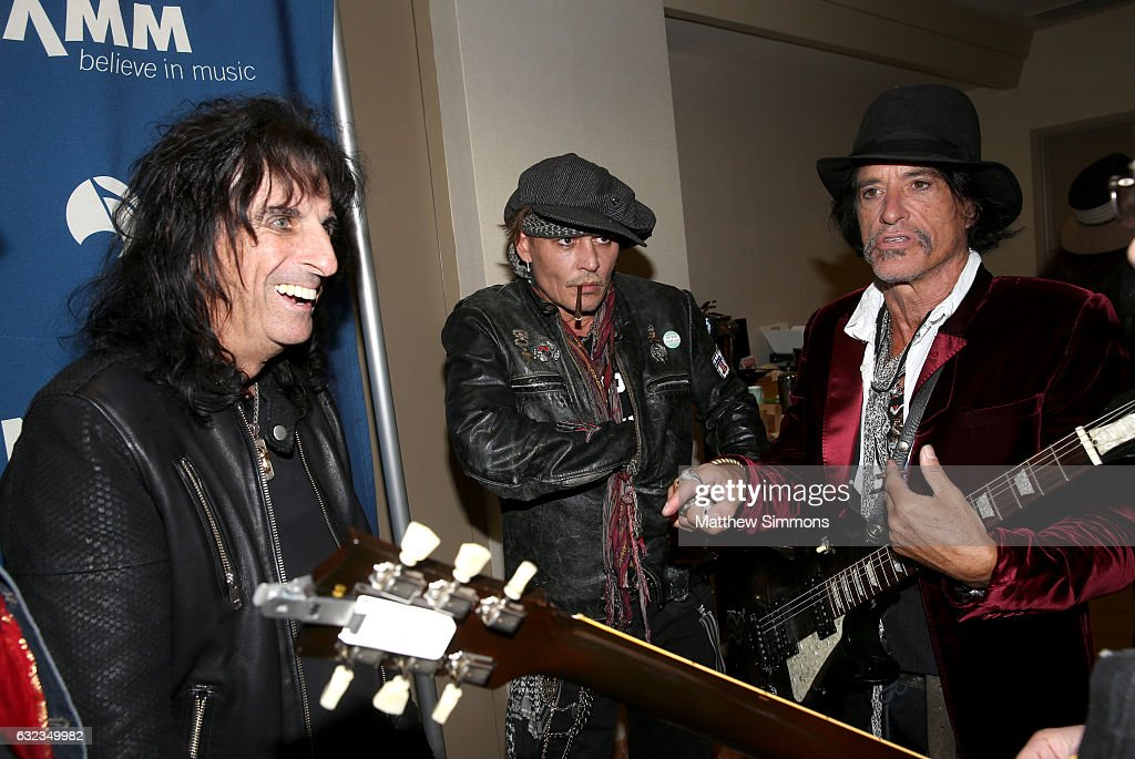 Musicians Alice Cooper, Johnny Depp and Joe Perry attend the TEC Awards during NAMM Show 2017 at the Anaheim Hilton on January 21, 2017 in Anaheim, California.