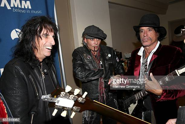 Musicians Alice Cooper Johnny Depp and Joe Perry attend the TEC Awards during NAMM Show 2017 at the Anaheim Hilton on January 21 2017 in Anaheim...