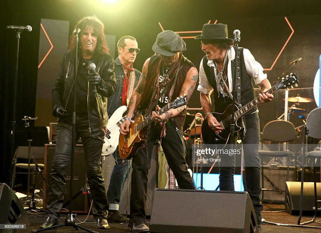 Musicians Alice Cooper, Robert DeLeo , Johnny Depp and Joe Perry perform onstage at the TEC Awards during NAMM Show 2017 at the Anaheim Hilton on January 21, 2017 in Anaheim, California.