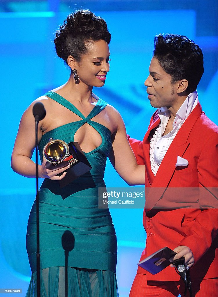 Musicians Alicia Keys and Prince on stage at the 50th Annual GRAMMY Awards at the Staples Center on February 10, 2008 in Los Angeles, California.
