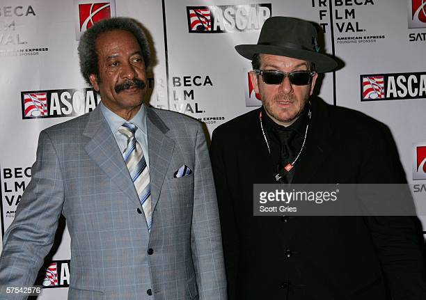 Musicians Allen Toussaint and Elvis Costello pose at the Tribeca/ASCAP Music Lounge at the Canal Room May 5 2006 in New York City