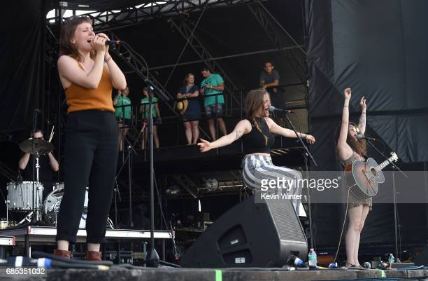 Musicians Allison Closner Meegan Closner and Natalie Closner of the band Joseph perform at the Hangout Stage during 2017 Hangout Music Festival on...