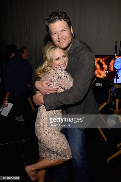 Musicians Amanda Lambert and Blake Shelton attend 2014 MusiCares Person Of The Year Honoring Carole King at Los Angeles Convention Center on January...