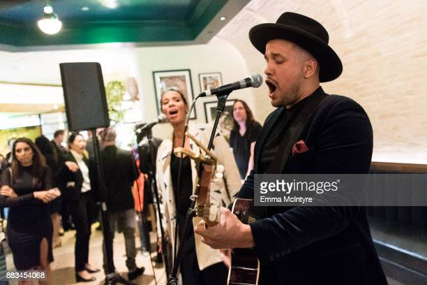 Musicians Amanda Sudano and Abner Ramirez of 'Johnny Swim' perform live at 'Cal Mare by chef Adam Sobel grand opening party' on November 30 2017 in...