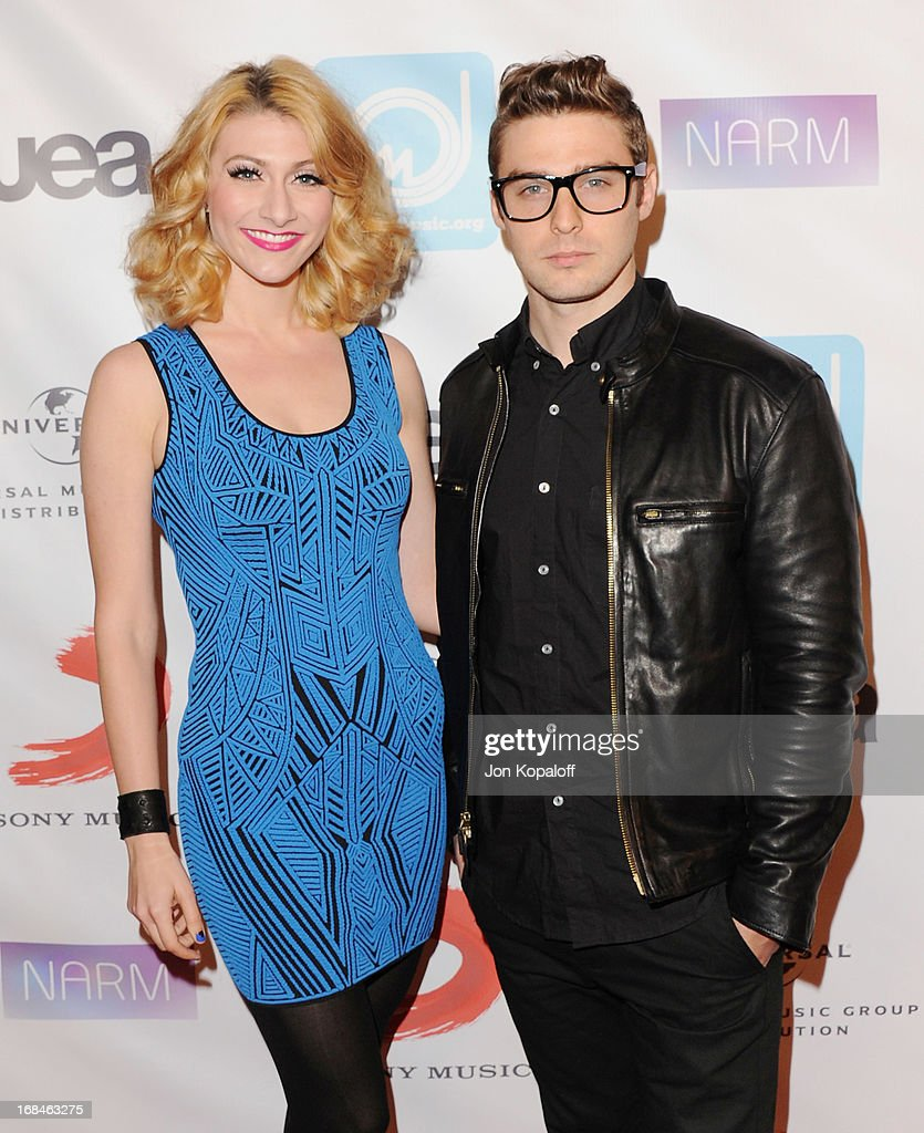 Musicians Amy Heidemann and Nick Louis Noonan of Karme arrive at the NARM Music Biz 2013 Awards Dinner Party at the Hyatt Regency Century Plaza on May 9, 2013 in Century City, California.