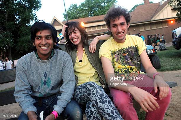 Musicians Anand Wilder of Yeasayer, Jo, and Jeremy Hyman of Ponytail pose for a portrait backstage during the Pitchfork Music Festival at Union Park...