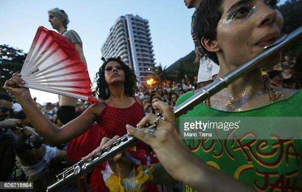 Musicians and dancers perform during the 2016 Honk Rio Festival a celebration of brass bands on November 27 2016 in Rio de Janeiro Brazil The fourday...