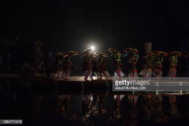 Musicians and dancers perform to traditional preHispanic music at Hollywood Forever Cemetery's 19th annual Dia De Los Muertos celebration in...
