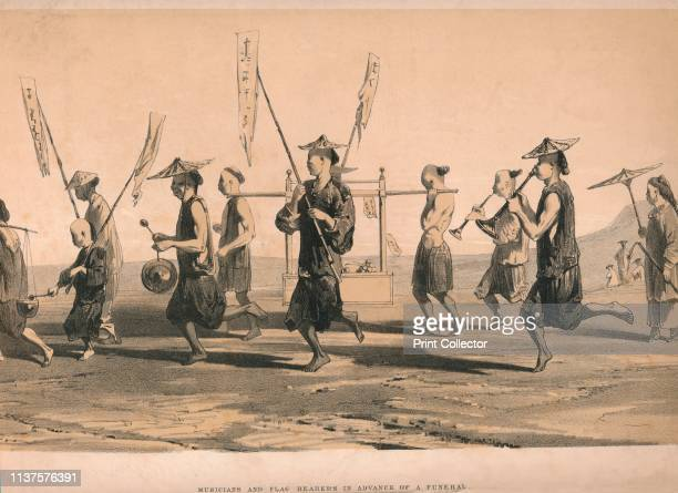 Musicians and Flag Bearers in advance of a funeral' circa 1860 Procession of barefoot men with musical instruments The woman on the right has bound...