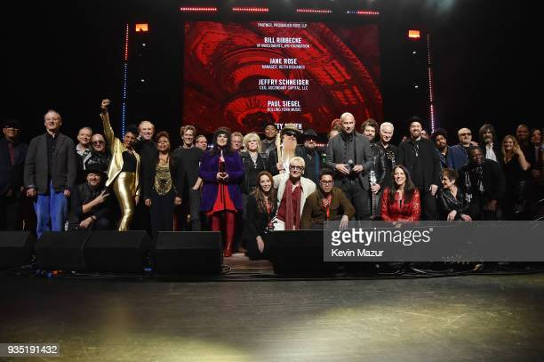 Musicians and guests pose onstage at the Second Annual LOVE ROCKS NYC A Benefit Concert for God's Love We Deliver at Beacon Theatre on March 15 2018...