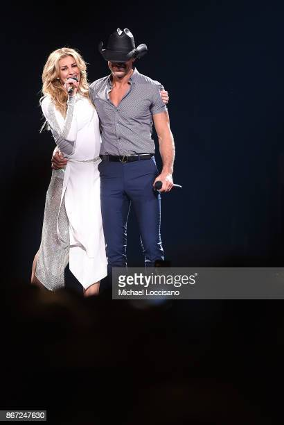 Musicians and husband and wife Faith Hill and Tim McGraw perform during their Soul2Soul Tour at Barclays Center of Brooklyn on October 27 2017 in New...