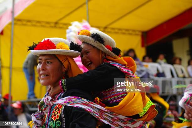 musicians and people from the island of taquile in puno peru - quechua people stock pictures, royalty-free photos & images