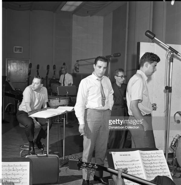 Musicians and producers Alan Lorber Barry Mann and Gerry Goffin at a Barry Mann recording session for the song Find Another Fool at RCA on September...