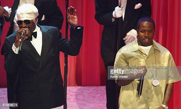 Musicians Andre 3000 and Big Boi of Outkast perform on stage at the 2004 Black Entertainment Awards held at the Kodak Theatre on June 29 2004 in...