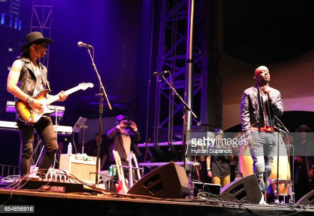 Musicians Andre Cymone and Wyclef Jean perform onstage at the Prince Tribute Concert during 2017 SXSW Conference and Festivals at Lady Bird Lake on...