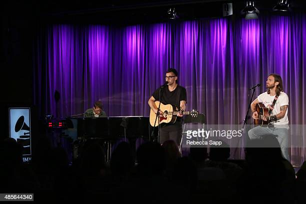 Musicians Andrew Dost Jack Antonoff and Mikey Hart perform at AUDIBLE IMPACT Music Activism at on August 28 2015 in Los Angeles California