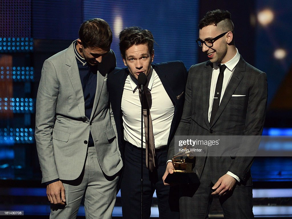 Musicians Andrew Dost, Nate Ruess, and Jack Antonoff of Fun. accept the Grammy for Best New Artist onstage during the 55th Annual GRAMMY Awards at STAPLES Center on February 10, 2013 in Los Angeles, California.