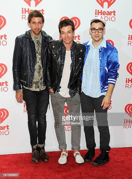 Musicians Andrew Dost, Nate Ruess and Jack Antonoff of Fun. Attend the iHeartRadio Music Festival at the MGM Grand Garden Arena on September 20, 2013...