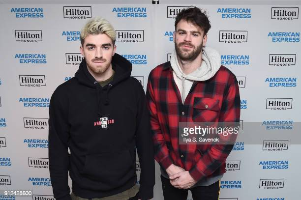 Musicians Andrew Taggart and Alex Pall of The Chainsmokers enjoy a unique experience at the Hilton and American Express event at the Conrad New York...