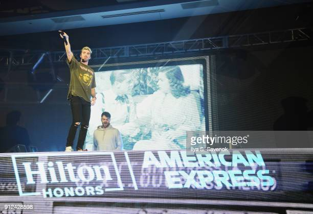 Musicians Andrew Taggart and Alex Pall of The Chainsmokers perform at the Hilton and American Express event at the Conrad New York on January 30 2018...
