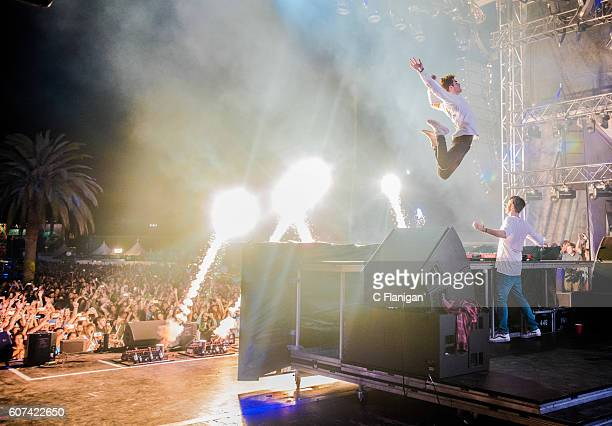 Musicians Andrew Taggart and Alex Pall of The Chainsmokers perform on the Grandview Stage during the 2016 KAABOO Del Mar at the Del Mar Fairgrounds...