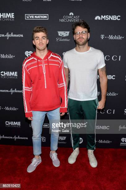 Musicians Andrew Taggart and Alex Pall of The Chainsmokers pose in the VIP Lounge during the 2017 Global Citizen Festival in Central Park on...