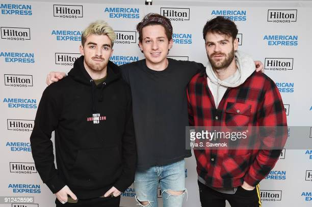 Musicians Andrew Taggart Charlie Puth and Alex Pall of The Chainsmokers enjoy a unique experience at the Hilton and American Express event at the...