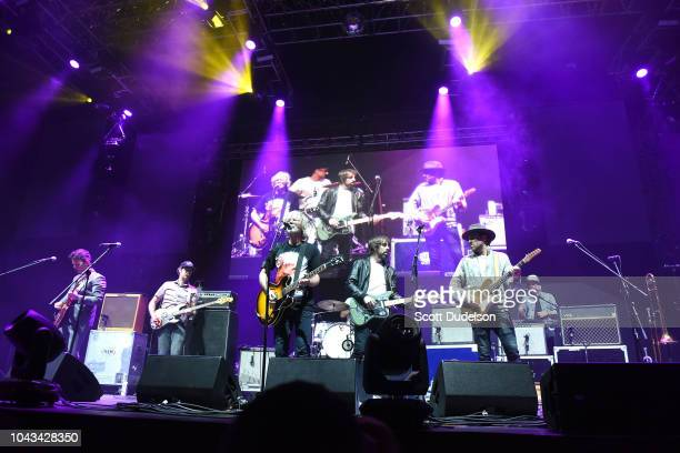 Musicians Andrew Whiteman Charles Spearin Brandon Canning Justin Peroff Sam Goldberg David French and Kevin Drew of the band Broken Social Scene...