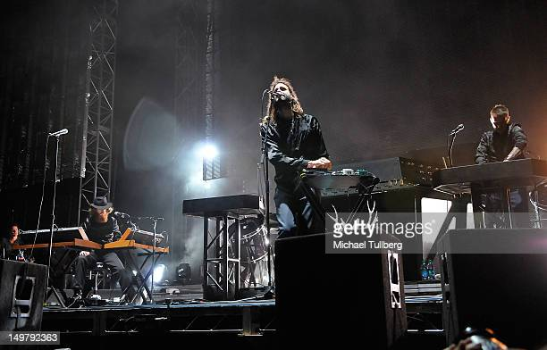Musicians Andrew Wyatt and Christian Karlsson of Miike Snow performs live on Day One of the 2012 HARD SUMMER Music Festival at Los Angeles State...