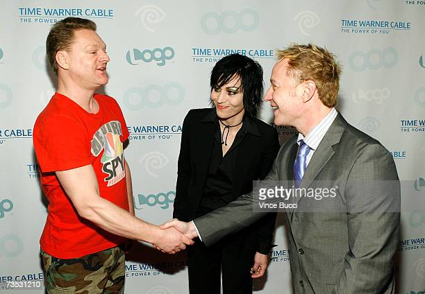 Musicians Andy Bell and Joan Jett and president of the LOGO channel Brain Graden attend the launch party for MTV Network's LOGO Channel on Time...