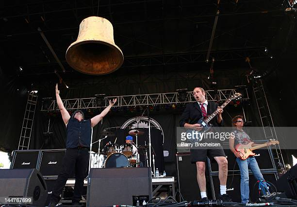 Musicians Andy Bowman Zach Ballard Evan Christopher and Allen Denning of Hells Bells perform during the 2012 Rock On The Range festival at Crew...